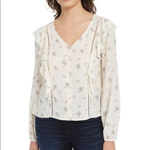 Planet Gold Floral Ruffle Top Small
